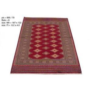 4x6  Trendy Handmade Wool & Silk Jaldar Bokara Red Rug PIX-25470