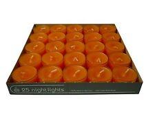 25 Teelichter Acryl Cup Orange Nightlights 8 Std Brennd transparente Hülle