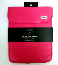 """iHome Macbook AIR or PRO 13"""" Laptop Protective Sleeve Pink w White Liner 14""""x11"""""""