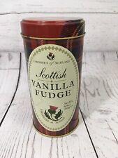 "Scottish Vanilla Fudge Tartan Plaid Aluminium Tin Jar Red Tall Round 6"""