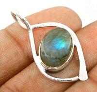 Blue Fire Labradorite 925 Solid Sterling Silver Pendant Jewelry EA31-2