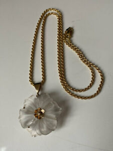 FULLY HALLMARKED ITALY ROPE CHAIN 375 9CT GOLD GLASS FLOWER PENDANT NECKLACE