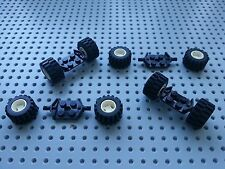 LEGO - 4 PIECES (6157) WHEEL HOLDERS, 8 (6014 6015) HUBS, TYRES, - BLACK/WHITE