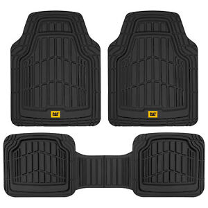 CAT® 3pc Black Car Rubber Floor Mats for All Weather Protection Custom Fit⭐⭐⭐⭐⭐
