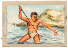 Lobster Spearfisherman with Spear Vintage Trade Ad Card