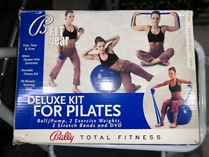 Bally Total Fitness Deluxe Pilates Kit Ball, Pump, Stretch Bands, Weights