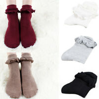 Women Thick Ankle Socks Lace Ruffle Frilly Princess Cotton Winter Short Socks US