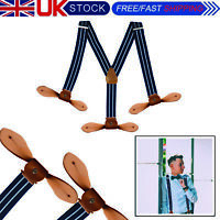 25mm Navy Mens Unisex Braces Elasticated Heavy Duty Adjustable Suspenders Stripe
