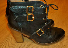 Kurt Geiger Black Leather Victor Buckle Ankle Boots Size 5 originally £150.00