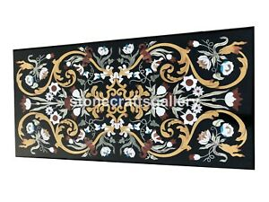 """22""""x48"""" Marble Dining Table Top Precious Mosaic Floral Inlay Outdoor Decor B046A"""