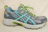 Asics GEL-Venture 5 Gray Turquoise Lime Mesh Athletic Running Shoes Womens 7