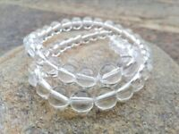 8 mm Round Clear Quartz Beads - One Full Strand - 1 mm Hole
