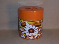 Vintage Retro Flower Pattern Canister Metal Tin White Orange Brown Yellow Fall