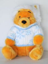 Disney Store Exclusive Holiday POOH Bear Plush Sweater Hat Stuffed Animal Toy EC