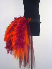 Burgundy Red Orange Burlesque Bustle Belt Feathers size S Sexy The Tutu Store-UK