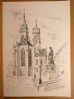 Kurt Hermann KÜHN (*1926) - Stuttgart - Der Schillerplatz mit Stiftskirche