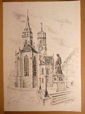 Kurt Hermann audaz (* 1926) - stuttgart-el schillerplatz con lápiz iglesia