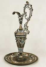 Continental Gilded Cold Painted Bronze Ewer & Plate Encrusted SemiPrecious Stone