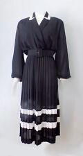 Vintage Hal Hardin Belted Black Sheer Fan Pleat Dress With Nautical Stripe L