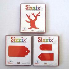 Sizzix Large Red Original Dies Lot of 3 Bare Tree Tags Set Scallop Hard Cases