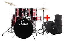 """XDrum Semi 20"""" Komplett Schlagzeug Drum Set Ständer Becken Hocker Red Taschen"""