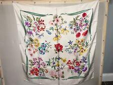 "Gucci Vintage 100% Silk Scarf Floral 33""Sq."