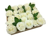 US 50pcs Ivory Artificial Flowers Foam Roses Decoration DIY for Wedding