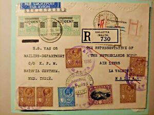 1935 REGISTERED COVER GB UK MALTA NEDERLAND DUTCH INDIES W99.4 START $0.99