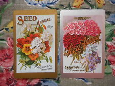 Swap/two/pair of vintage/kitsch game/playing cards - flower seed packet labels
