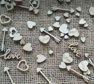 Wooden Table Confetti Wedding Rustic Vintage Wedding Scatter Decorations Love