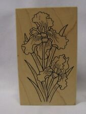 "Iris Flowers Rubber Stamp Great Impressions 4.25"" High Wood Mounted Large"