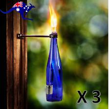 Tiki Torch Bottle and Bracket Kit 3 pack - Garden Outdoor Oil Lantern Lighting