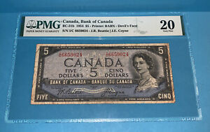 PMG Canada, Bank of Canada $5 Banknote 1954 BC-31b Devil's Face VF20