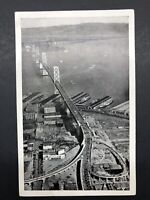 CA, California  SAN FRANCISCO-OAKLAND BAY BRIDGE~Aerial B & W Postcard 1938
