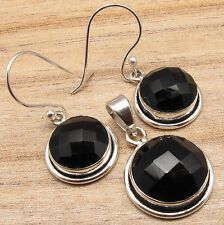 Silver Plated Matching Jewelry Set Black Onyx Earrings & Pendant, 925