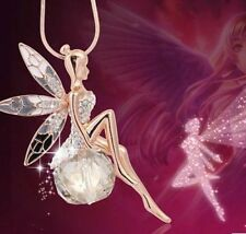 Exquisite Little Fairy On Genuine Clear Aaa Zircon Ball Pendant Necklace
