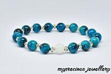 Natural Blue Zircon Tiger Eye Moonstone Beaded Reiki  Gemstone Bracelet Stone UK