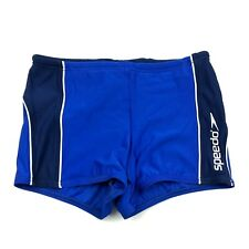 Speedo Square Leg Swimsuit Swim Shorts Men Size M Medium Fitted Blue Water Sport