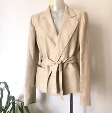 BALLY Pure Linen Woman Belted Jacket, Size IT46, Excellent Condition