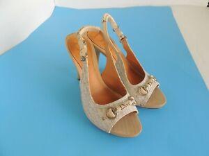 Christian Dior Wooden Logo Canvas Leather  Slingbacks Heels Sandals Sz 38 Us 8
