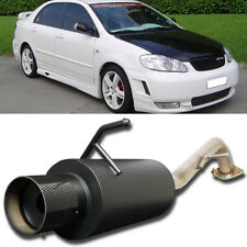 Fit 03-07 Corolla Stainless Bolt On Axle Back Exhaust Black Muffler Carbon Tip