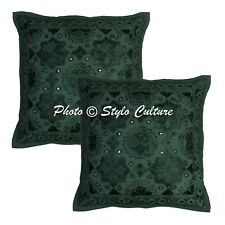 Indian Cushion Cover Art Deco Embroidered Dark Green Cotton Ethnic Pillow Throw