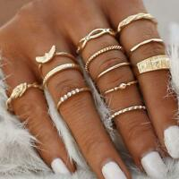 12Pcs/set Gold Midi Finger Ring Set Vintage Punk Boho Knuckle Rings Jewelry SH
