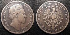 Allemagne - Bavière - Ludwig II - 2 Mark 1876 D, Munich - KM#903