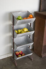 """Rustic Metal Storage Bin Baskets Display 4 Tiered Tower Stand Farmhouse 39""""H"""