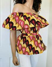'CHLOE' African Print Off-the-Shoulder Top 100% Wax Cotton Handmade UK