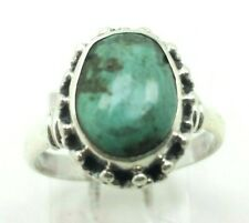 925 Ring 6g Sz.8 Lol413 Fine Oval Turquoise Gem Sterling Silver