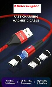 UK 3A Magnetic Type C Micro USB Fast Charger Data Sync Charging Cord Phone Cable