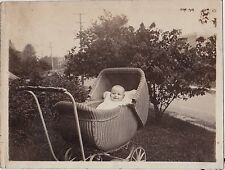 Old Vintage Antique Photograph Adorable Baby Laying in Wicker Baby Carriage