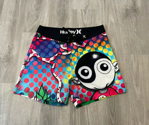Hurley Phantom Mens Board Shorts Size 33 Black Colorful Artist Print Swim